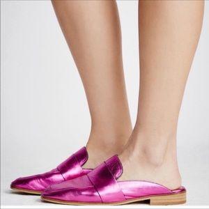 Free People   Pink Metallic Slide On Mules Size 6